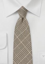 Glen Check Wool Tie in Brown