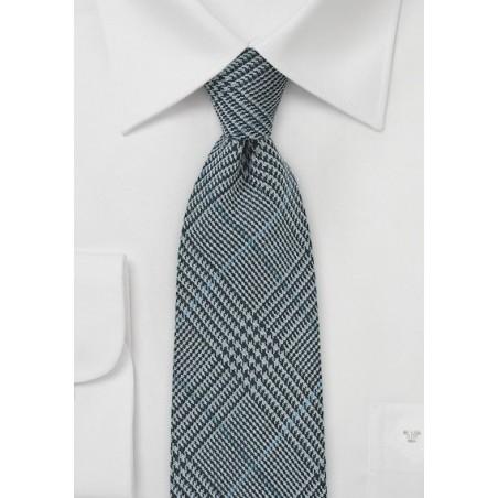 Glen Check Wool tie in Denim Blue