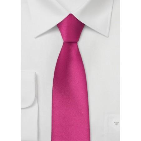 Solid Skinny Tie in Bright Fuchsia Pink