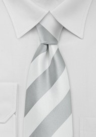 Preppy Kids Striped Tie in Silver and White
