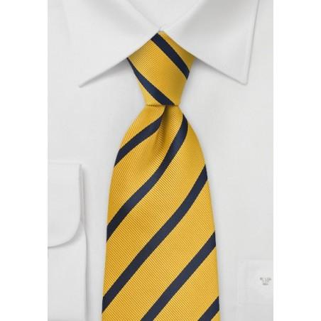 Regimental Stripe Kids Tie in  Yellow and Navy