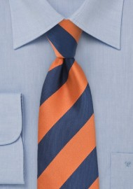 XL Length Collegiate Striped Tie in Orange and Navy