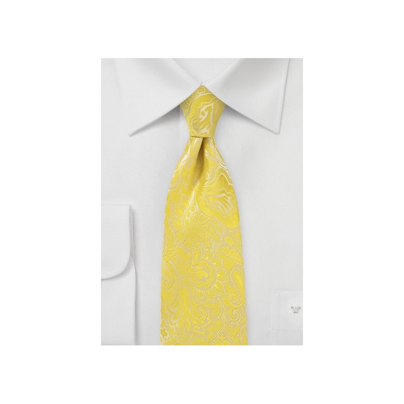 Frosted Citrus Hued Paisley Tie in XL Length