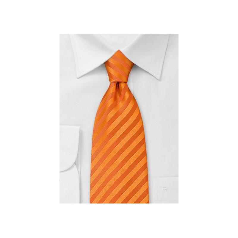Bright Orange Striped Clip on Tie