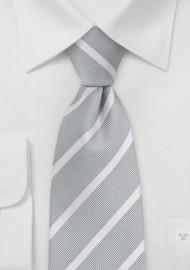 Silver and White Repp Stripe Tie in Kids Size