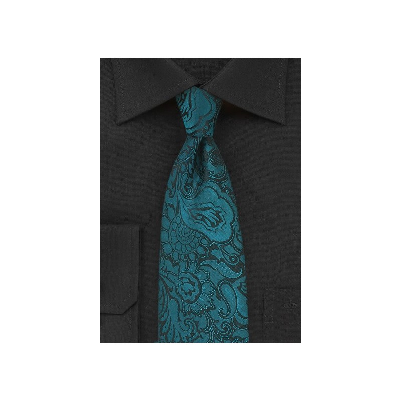 Extra Long Paisley Tie in Peacock Teal