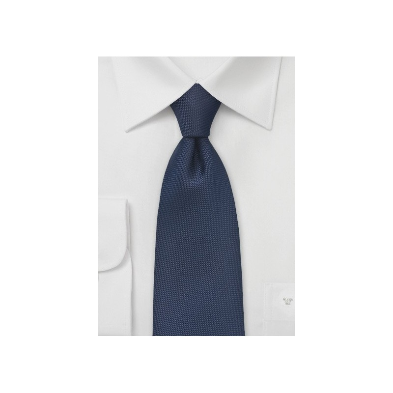 Embroidered XL Length Tie in Midnight Blue