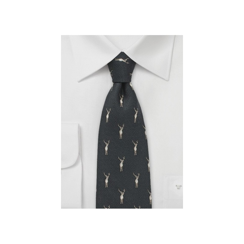 Brown Wool Tie with Embroidered Stags