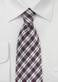 Chestnut Brown and Beige Gingham Tie