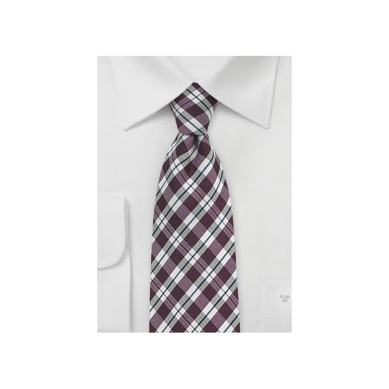 Chestnut Brown and Beige Gingham Tie