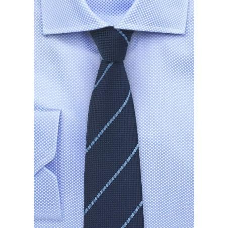 Wool Pencil Stripe Tie in Classic Navy