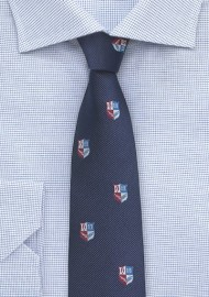 Repp Textured Tie in Navy with Crests
