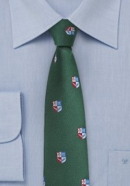 Crested Repp Tie in Dark Hunter Green