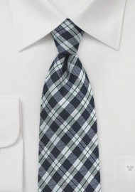 Gingham Wool Tie in Midnight Blue