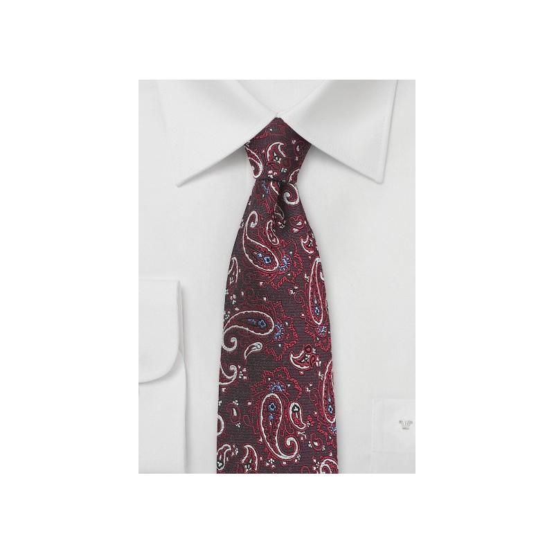 Marsala Red Paisley Tie