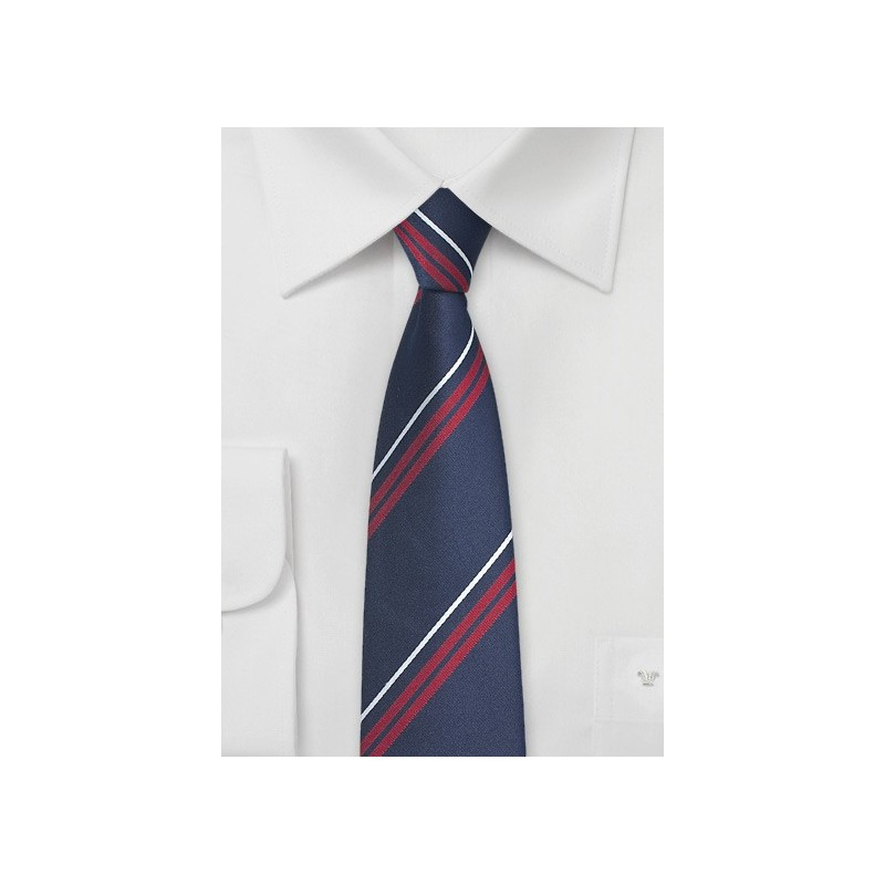 Fun Striped Tie in Blue and Cherry Red