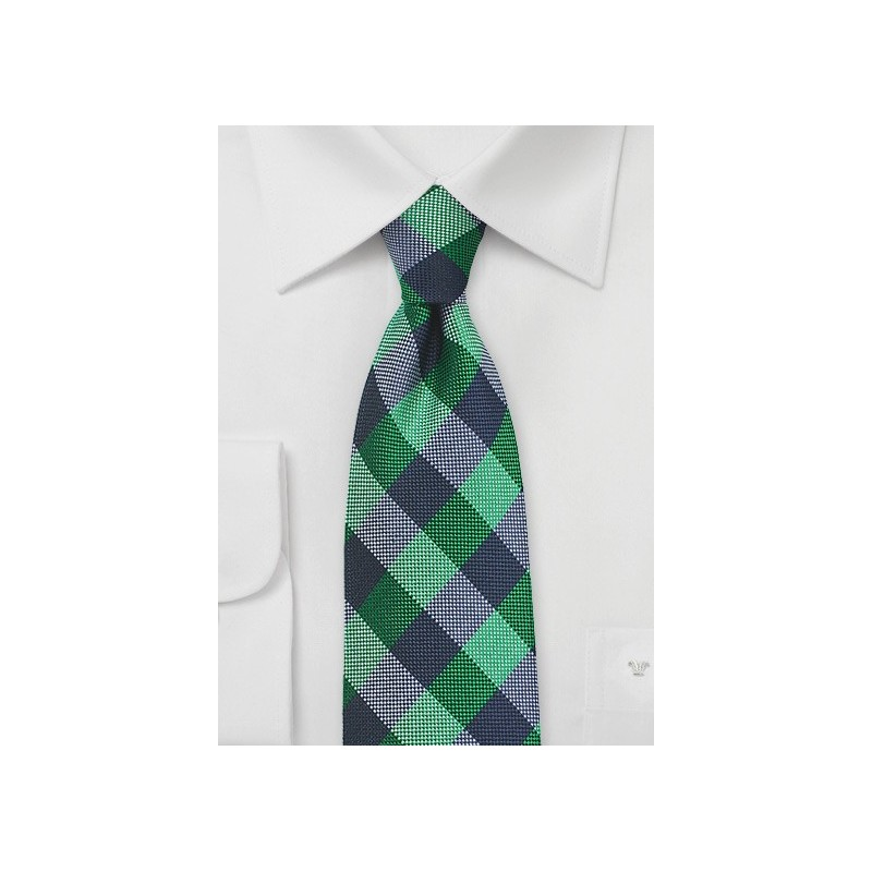 Bold Gingham Check Silk Tie in Kelly and Blue