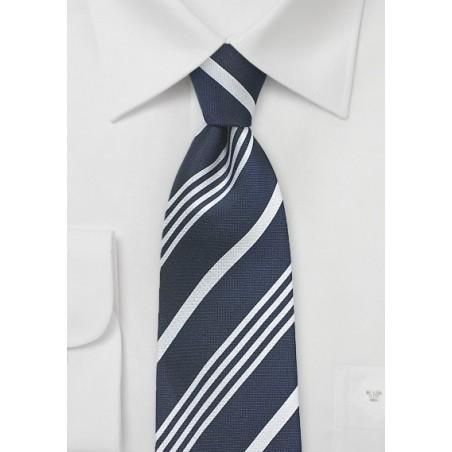 Elegant Navy and Silver Silk Tie