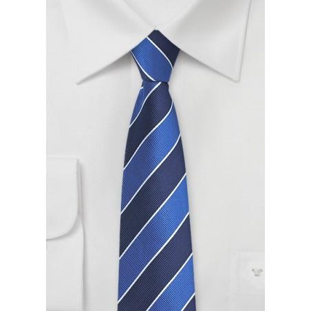 Skinny Repp Stripe Tie in Blue
