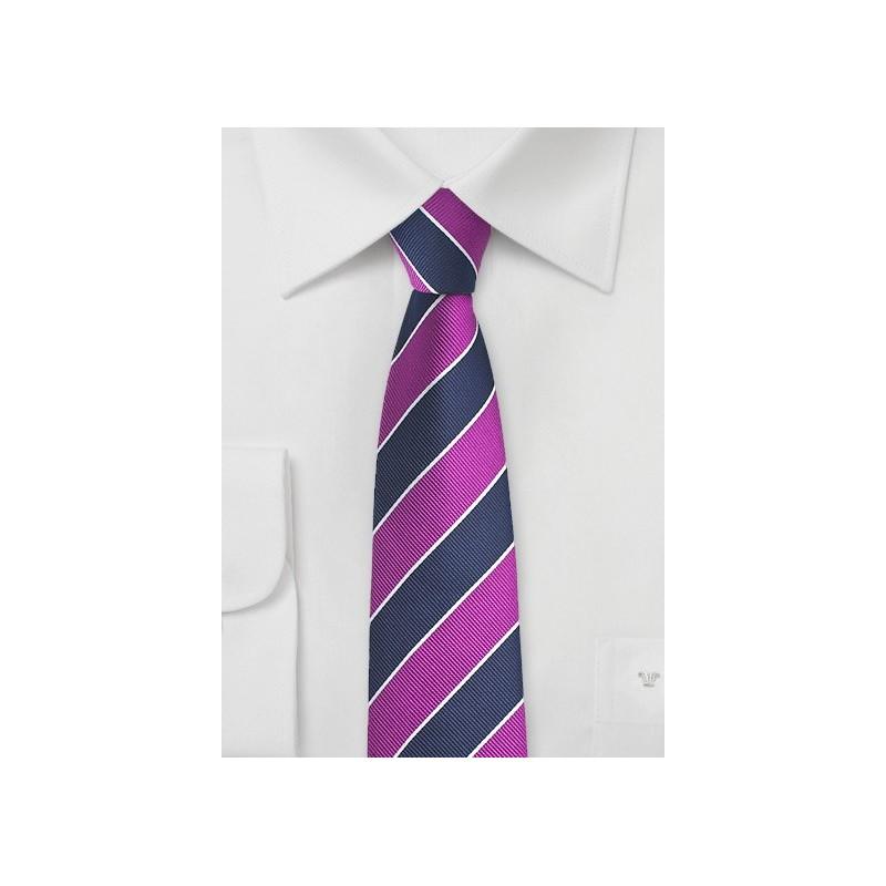 Preppy Skinny Striped Tie in Grape and Navy