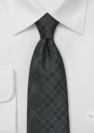 Charcoal and Black Plaid Tie