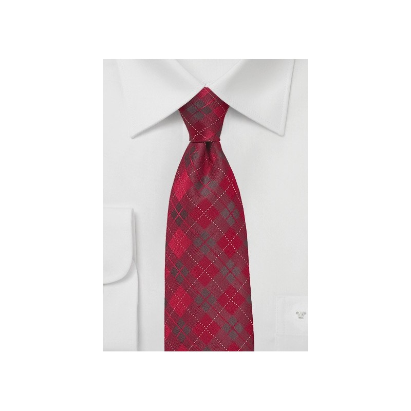 Apple Red Plaid Necktie