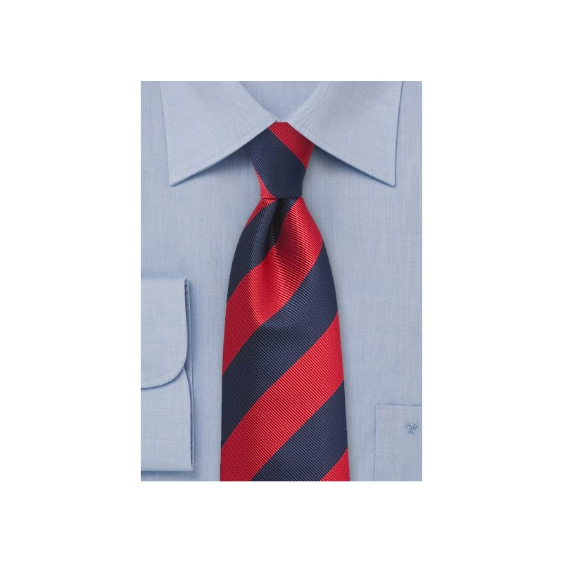 Repp Stripe Tie in Classic Navy and Red