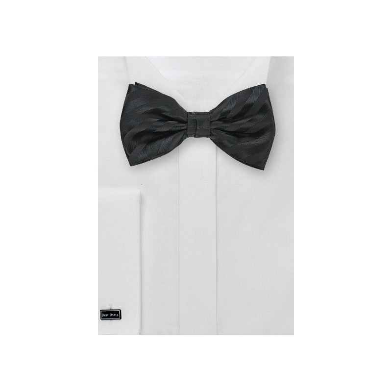Formal Black Striped Bow Tie for Kids