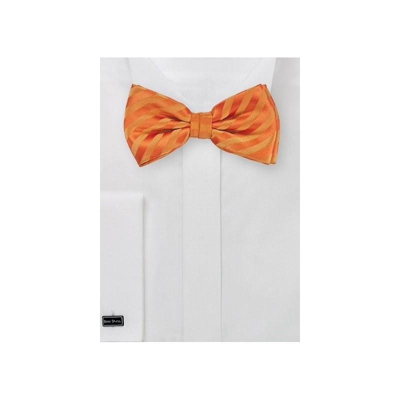 Bright Orange Kids Bow Tie with Stripes