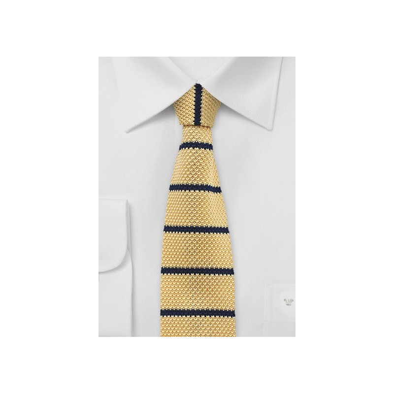 Butter Yellow and Blue Knit Tie