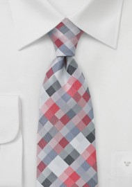 Diamond Check Red Tie in XXL Length