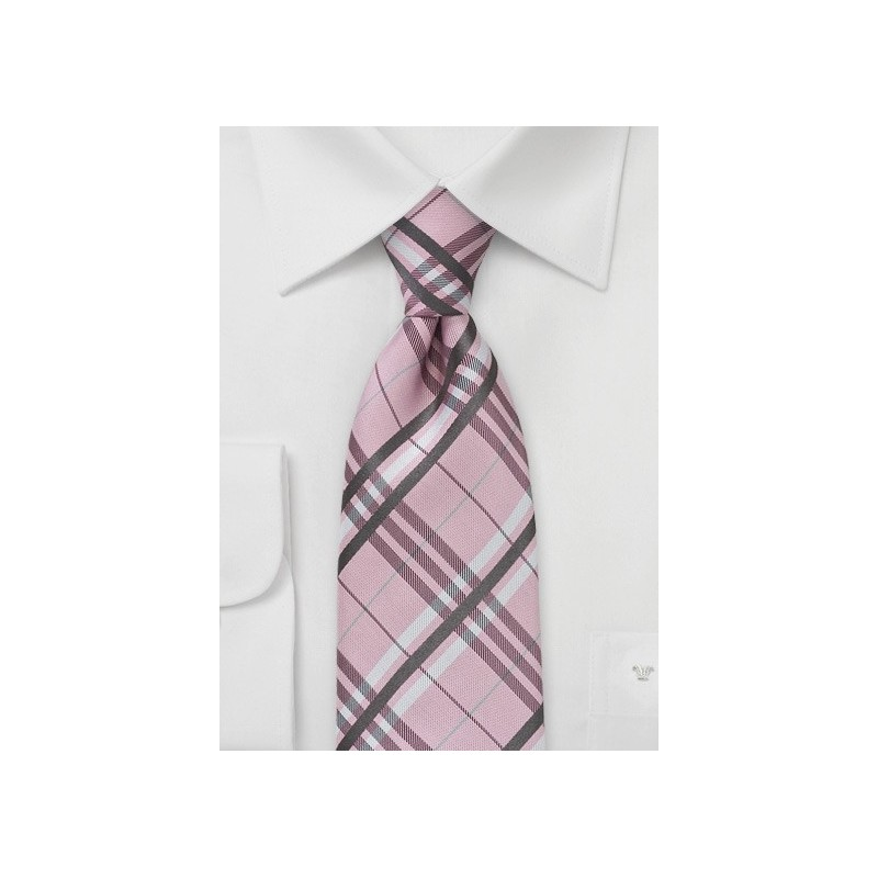 Pink Tartan Plaid Tie in XL Length