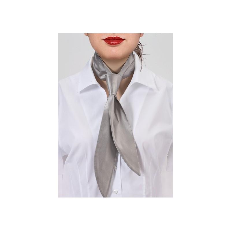 Silver Silk Womens Necktie