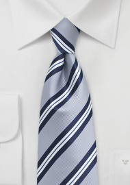 Preppy Gray Repp Striped Necktie
