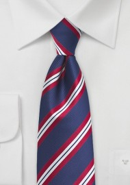 Modern Repp Tie in Navy and Red