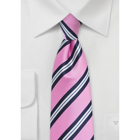 Pink and Blue Repp Striped Tie