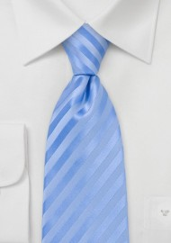 Tonal Light Blue Striped Tie in XXL Length