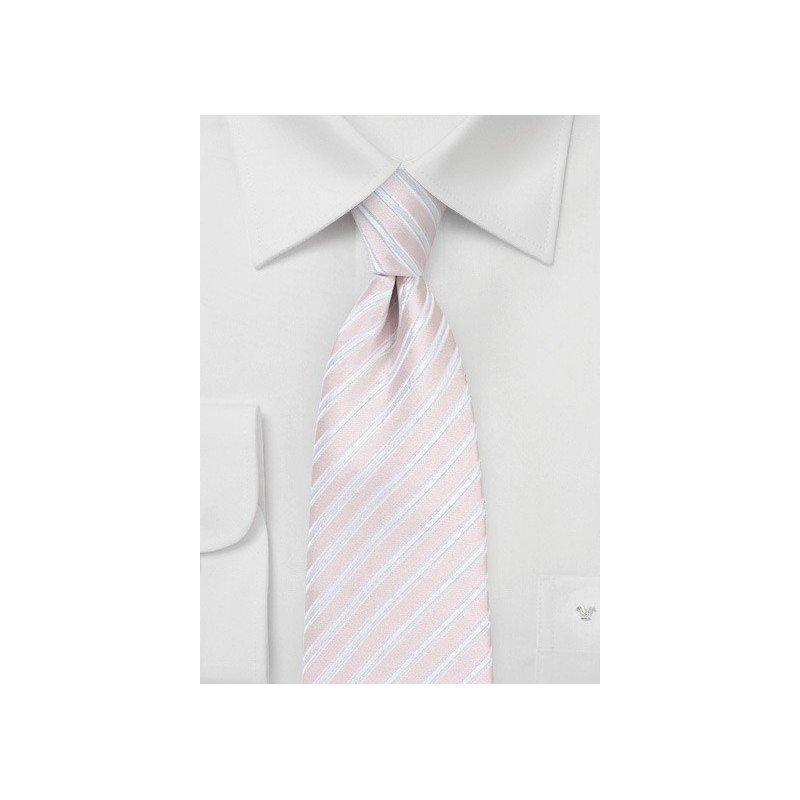 Pastel Pink and White Tie in XL Length