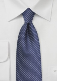 Navy Tie with Silver Pencil Stripes
