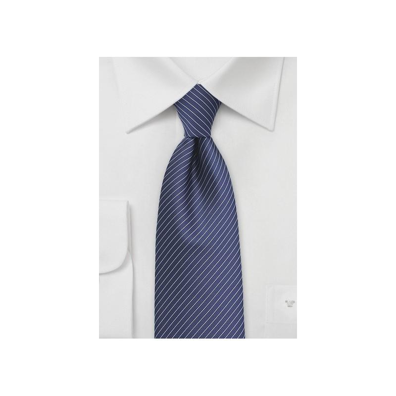 Navy Tie with Silver Pencil Stripes