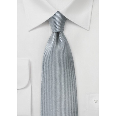 Corduroy Silk Tie in Metallic Silver