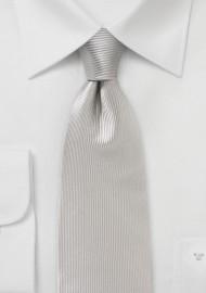 Platinum Silk Tie with Vertical Ribbs
