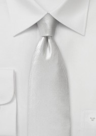 White Ribb Textured Silk Necktie