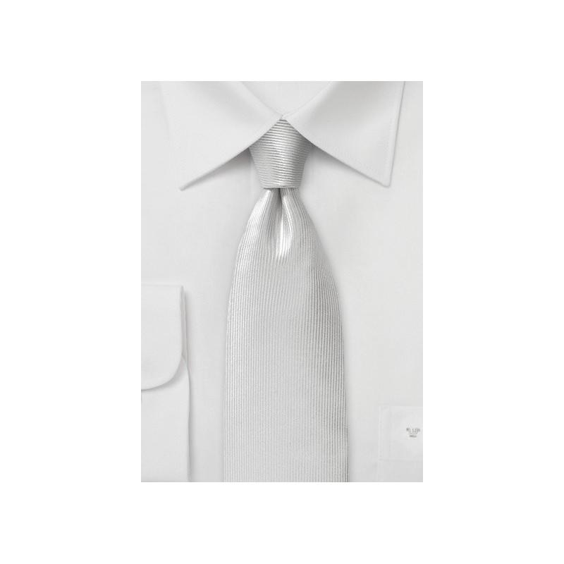 White Ribb Textured Silk Necktie