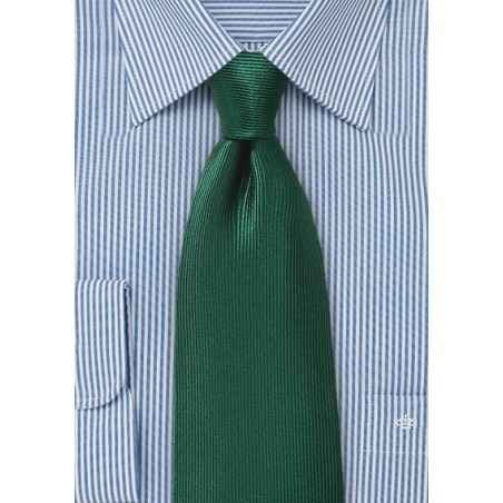 Hunter Green Silk Tie with Ribb Texture