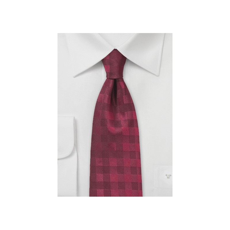 Wine Red Silk Tie with Gingham Check