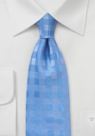Light Blue Silk Tie with Gingham Check