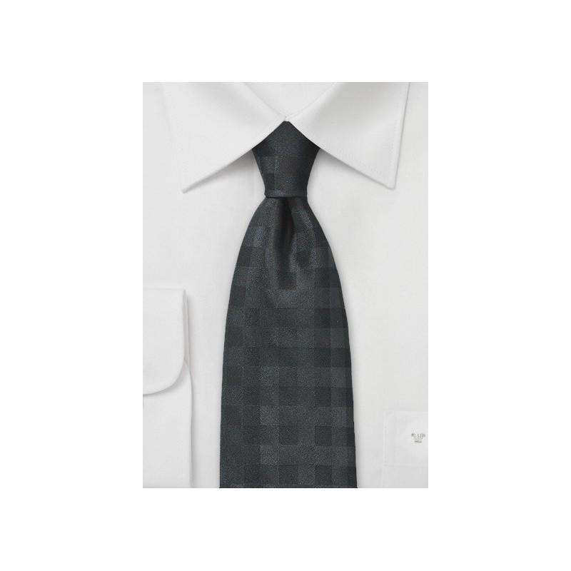 Solid Gingham Tie in Jet Black