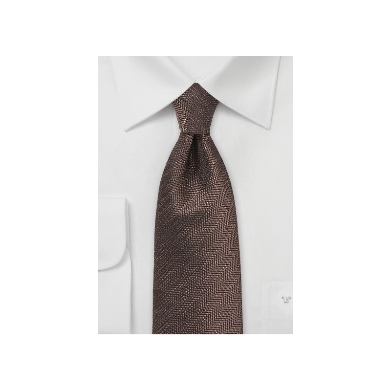 Herringbone Tie in Espresso Brown