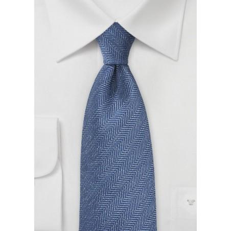 Herringbone Tie in Faded Denim Blue